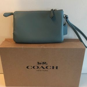 Coach Bags - Coach leather wristlet with double pouch's. Blue